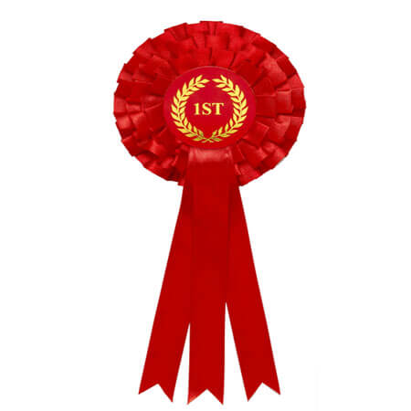 3 tiers red award ribbon rosette