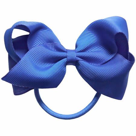 blue color diy ribbon bows with elastic