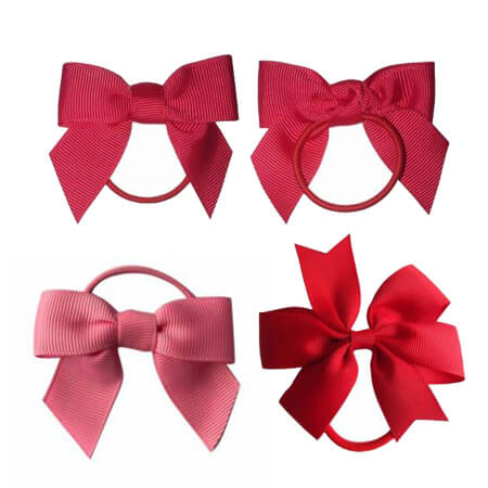diy ribbon bow with elastic red color