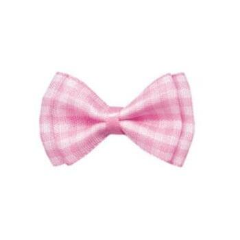 pink plaid ribbon cloth bow