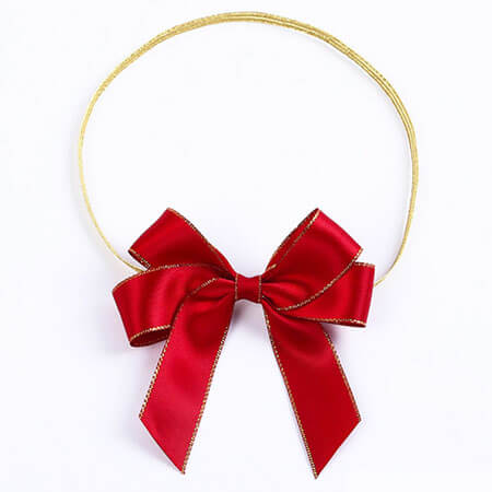red color handmade satin ribbon bow with elastic